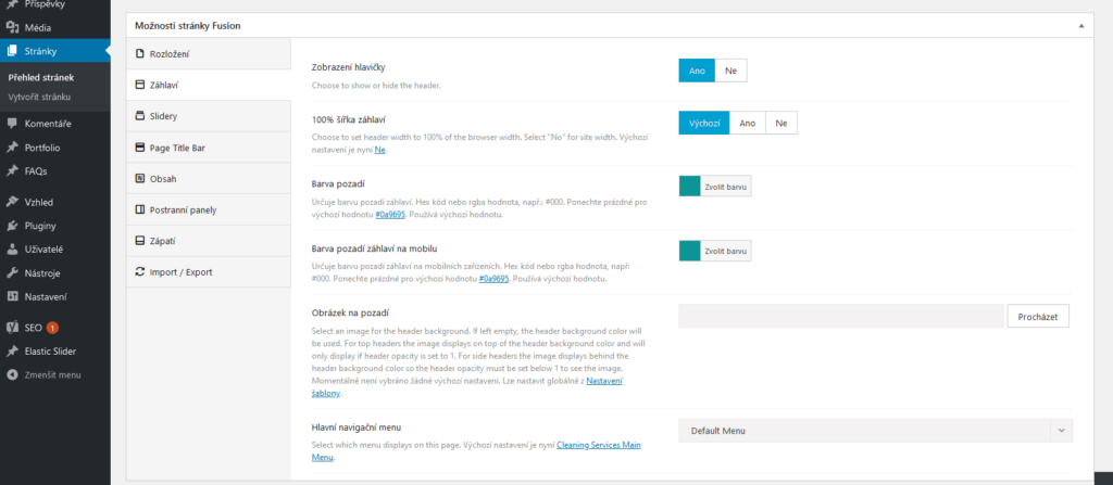 WordPress šablóna Avada - recenzie - Fusion page nastavenie