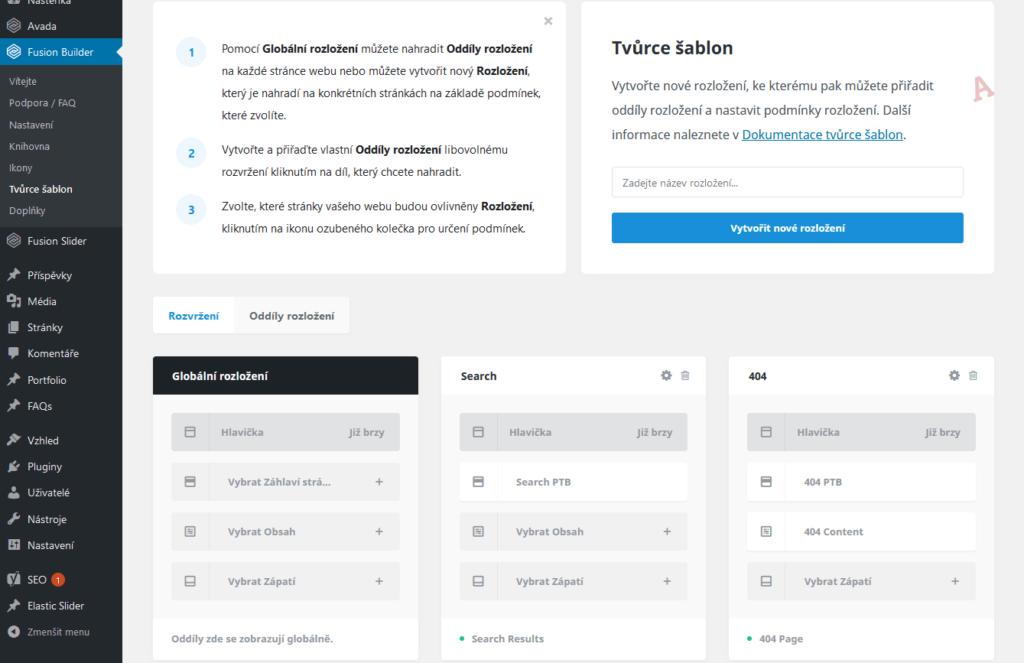 Recenzia - WordPress šablóna Avada - Theme Builder - nastavenia