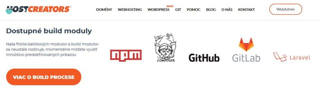 HostCreators recenzia dostupné build moduly