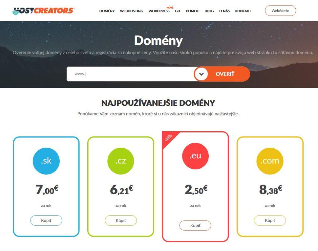 HostCreators recenzia registrácia domény
