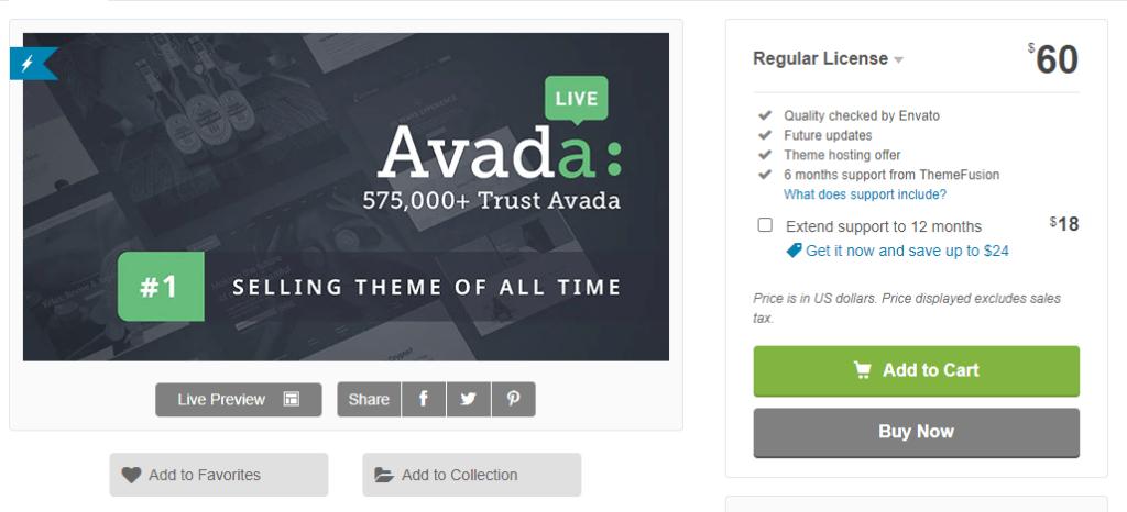 WordPress šablóna Avada - recenzie - cena