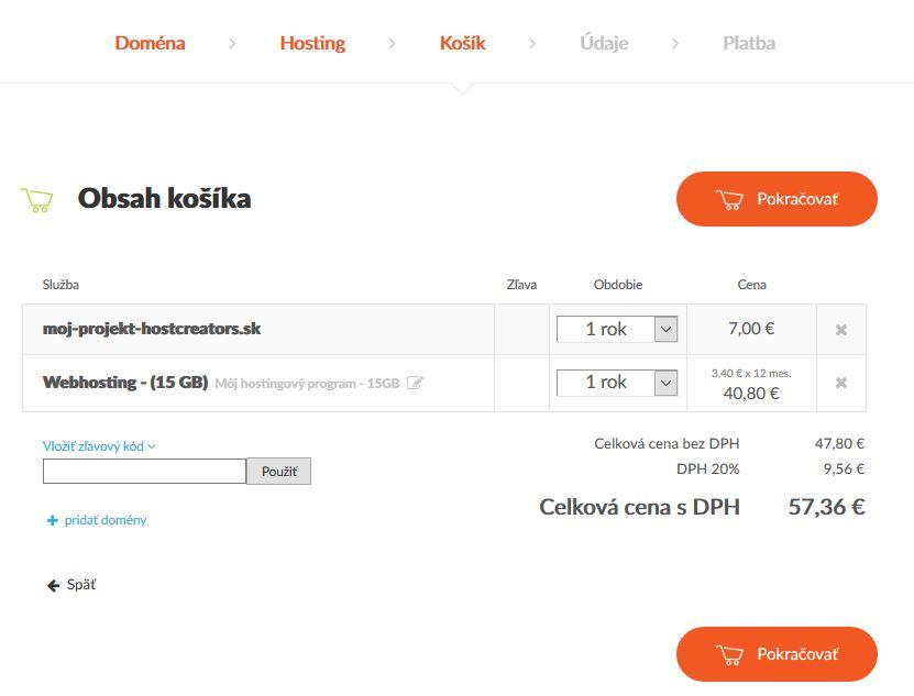 HostCreators recenzia webhosting košík