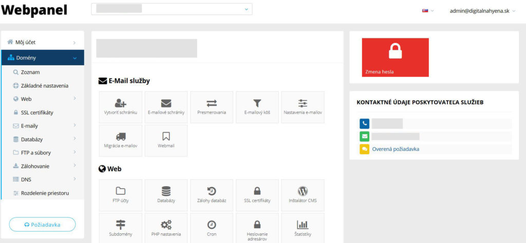WY recenzia administračné rozhranie WebPanel