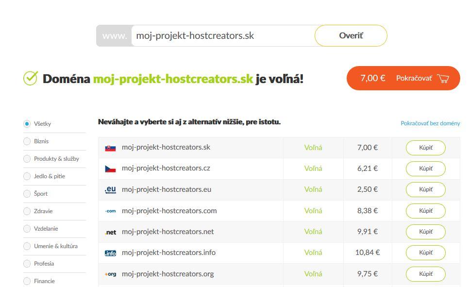 HostCreators recenzia WordPress hosting výber domény