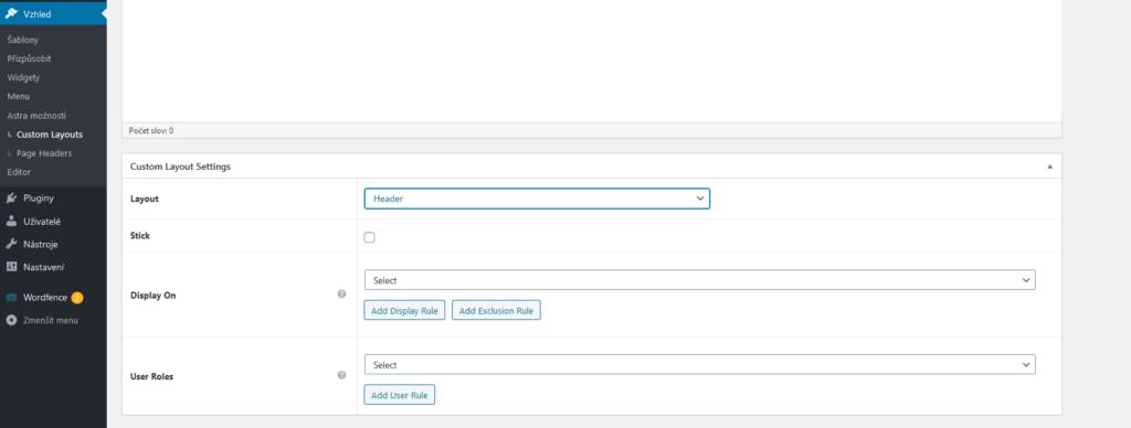 WordPress šablóna Astra recenzie custom layouts