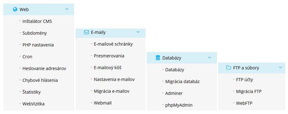 WY recenzia WebPanel navigačné menu