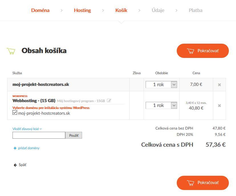 HostCreators recenzia WordPress hosting košík