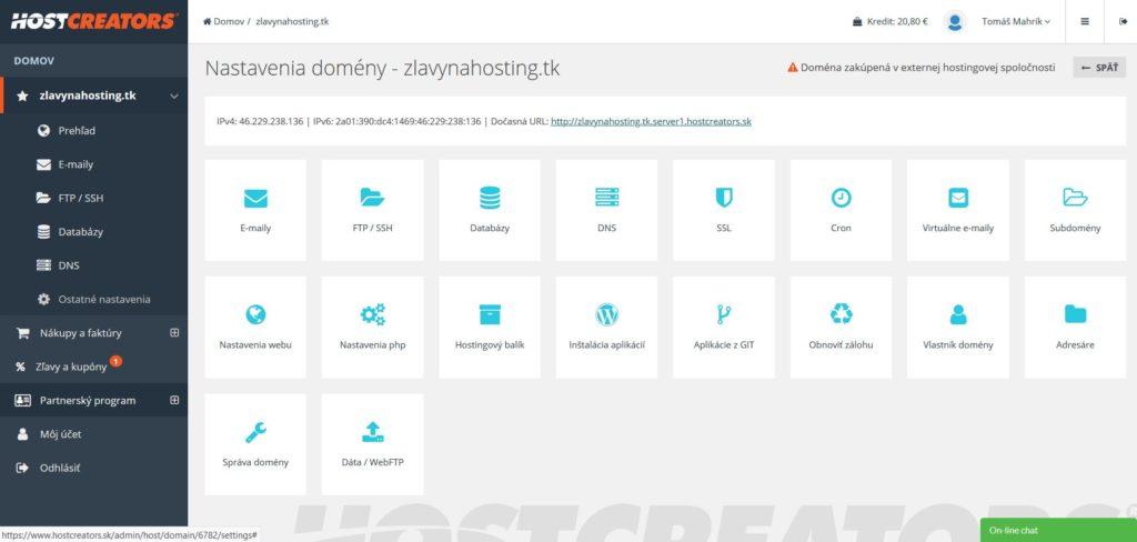HostCreators recenzia administračné rozhranie