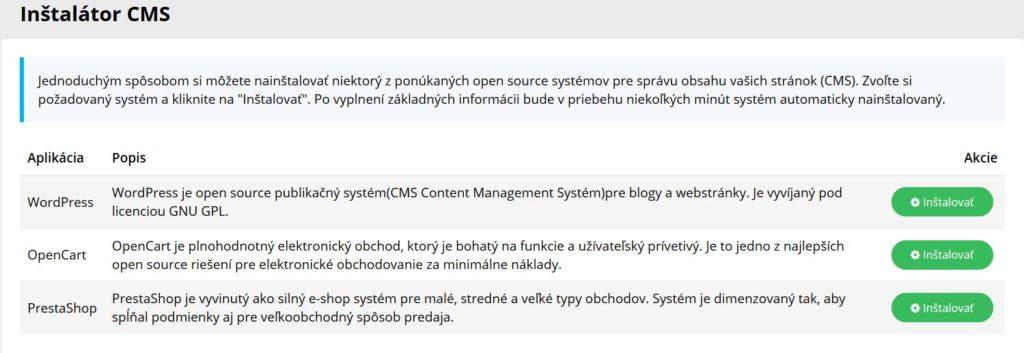 WY recenzia WebPanel inštalátor CMS