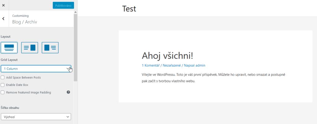 WordPress šablóna Astra recenzia grid layout