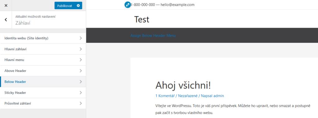 Recenzie WordPress šablóny Astra hlavička