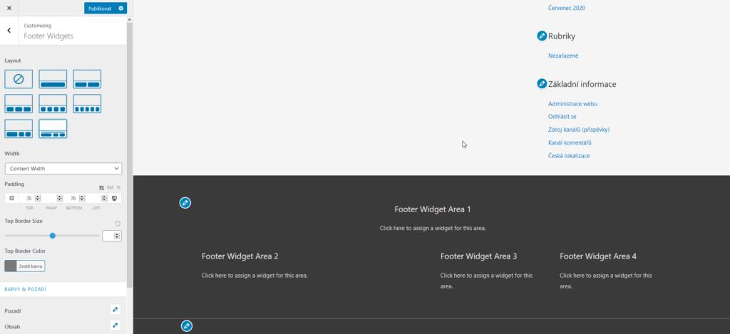 Recenzia WordPress šablóny Astra rozvrhnutie pätičky