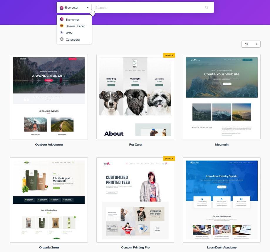 Recenzia WordPress šablóny Astra starter templates
