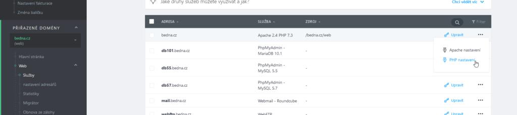 Recenzie WebSupport Webadmin nastavenie PHP