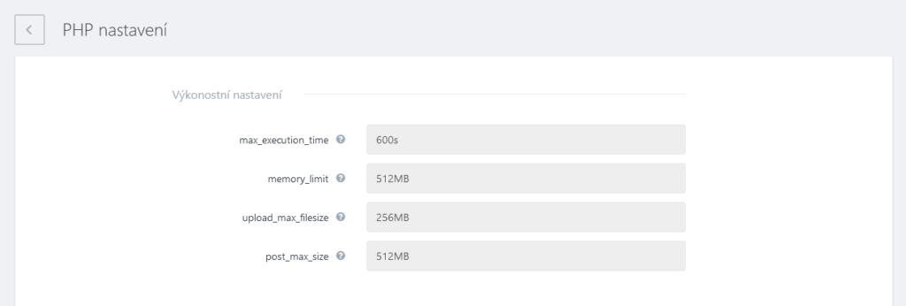 WebSupport Webadmin recenzia nastavenia PHP výkon
