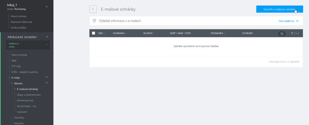 WebSupport Webadmin recenzie vytvorenie e-mailovej schránky