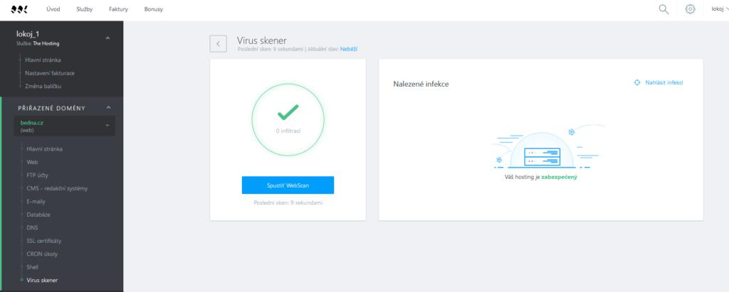 WebSupport recenzia Webadmin vírusový skener