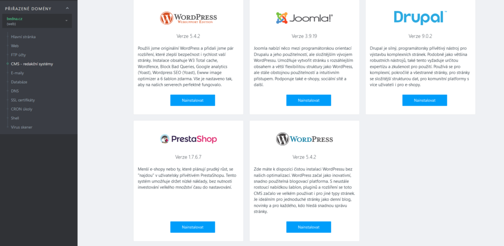 WebSupport recenzie inštalácia WordPress I. krok