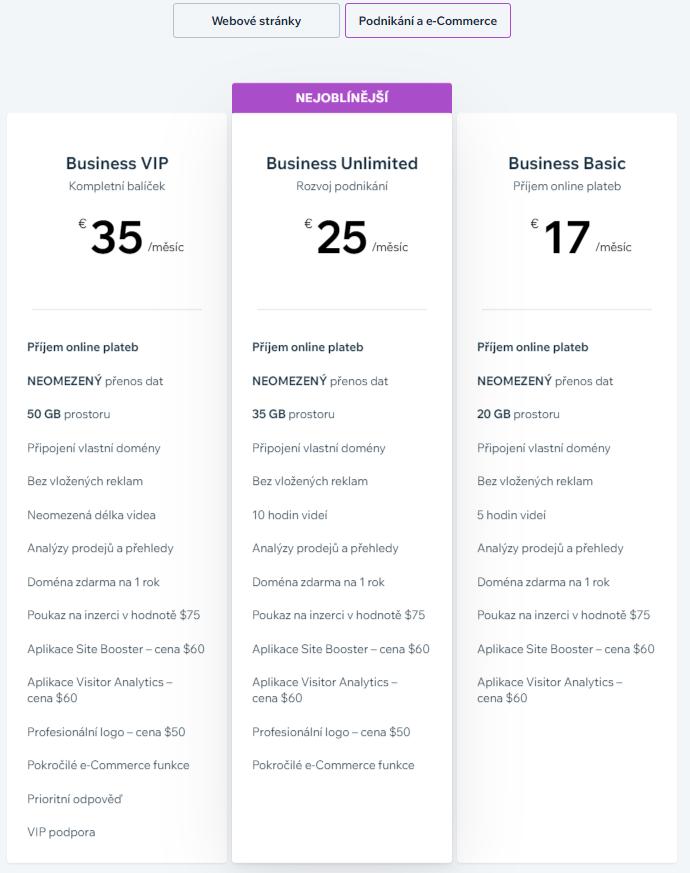 Webnode vs. Wix - Wix cenník pre e-commerce projekty