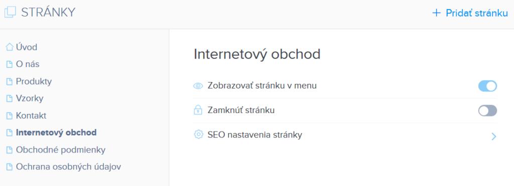 Webnode vs. Wix - Webnode konfigurácia stránky