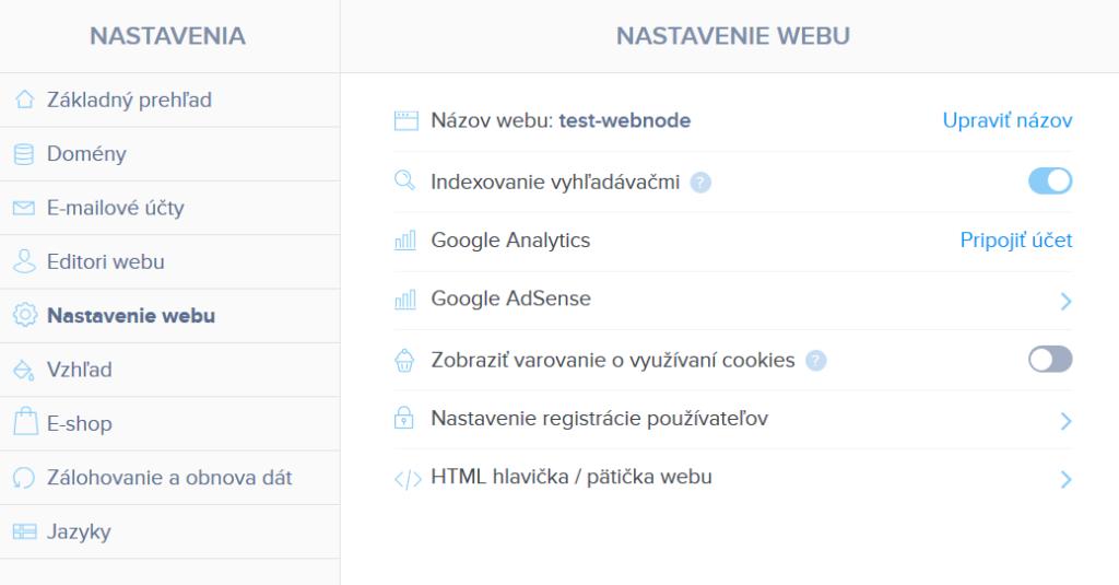 Webnode vs. Wix - Webnode konfigurácia webu
