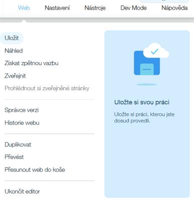 Webnode vs. Wix - Wix horné menu na webe