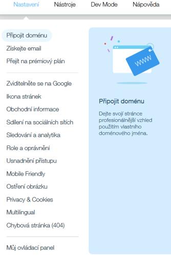 Webnode vs. Wix - Wix horné menu nastavenia