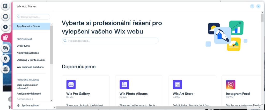 Webnode vs. Wix - Wix ľavé menu mobilná aplikácia