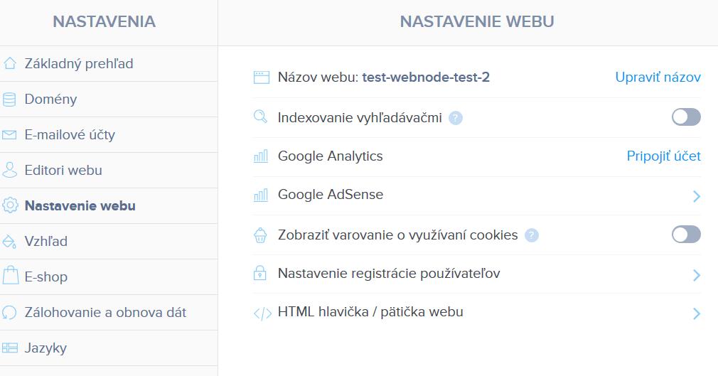 Webnode vs. Wix - Webnode SEO nastavenia III.