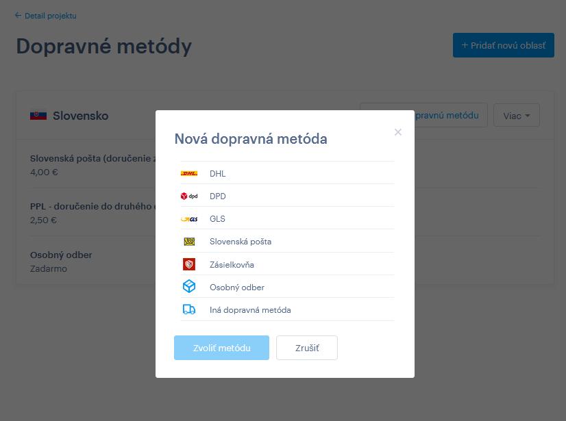 Webnode vs. Wix - Webnode e-shop doprava