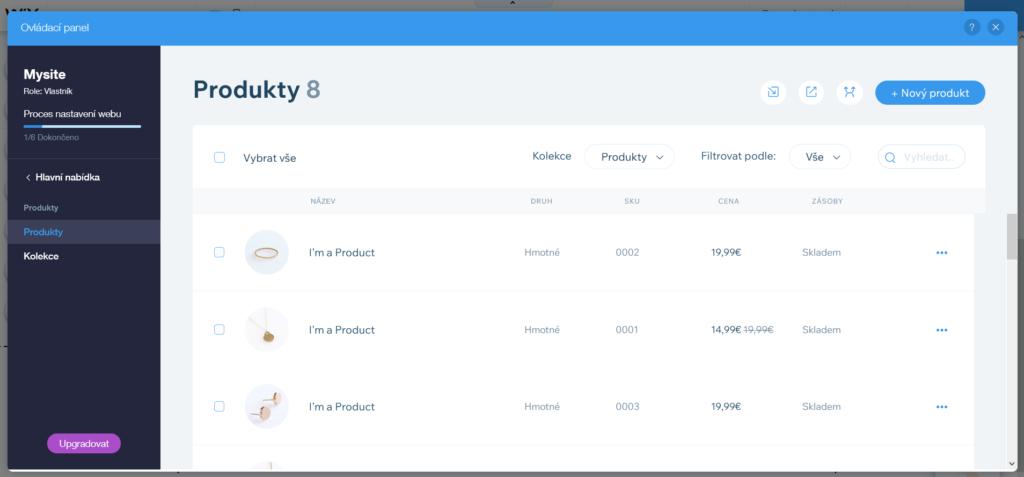 Webnode vs. Wix - Wix e-shop správca produktov zoznam