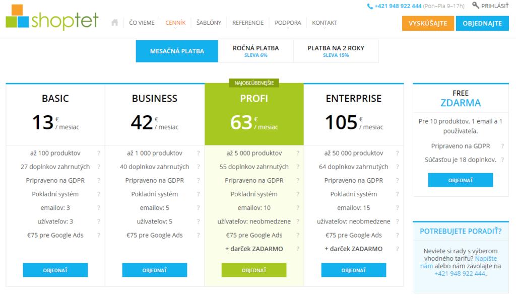 Shopify vs. Shoptet - porovnanie parametrov a cien Shoptetu