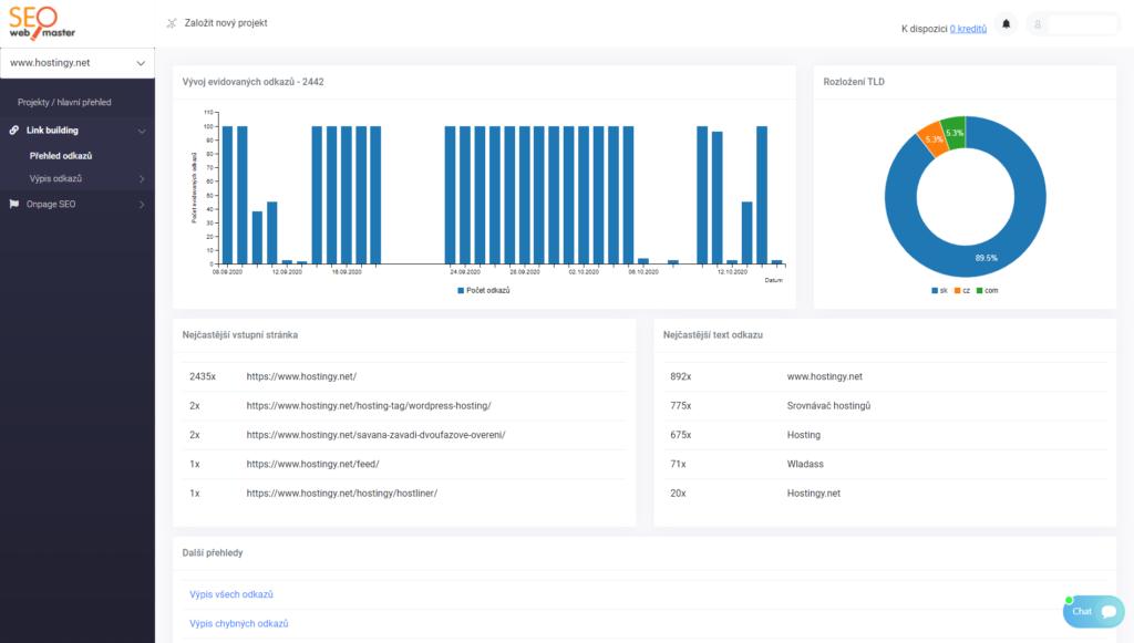 SEOwebmaster recenzie - kontrola spätných odkazov