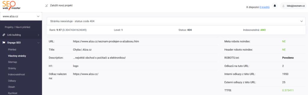 SEOwebmaster recenzia - sledovanie status kódu