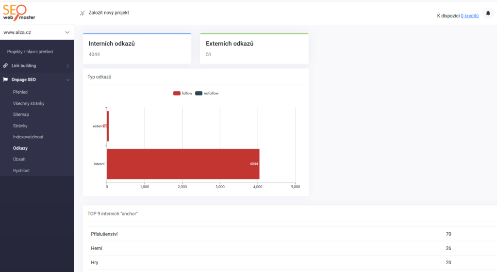 SEOwebmaster recenzie - kontrola interných odkazov
