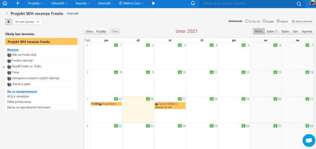 Freelo recenzia - kalendár s termínmi úloh
