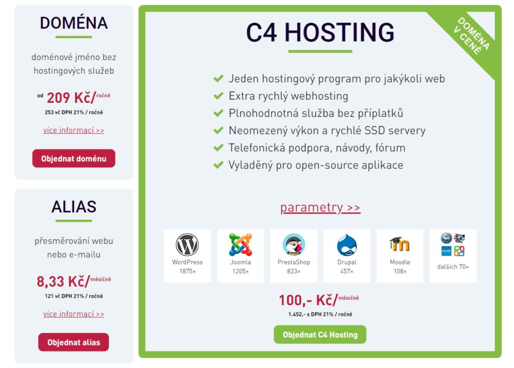 Recenzie Webhosting C4 cenník