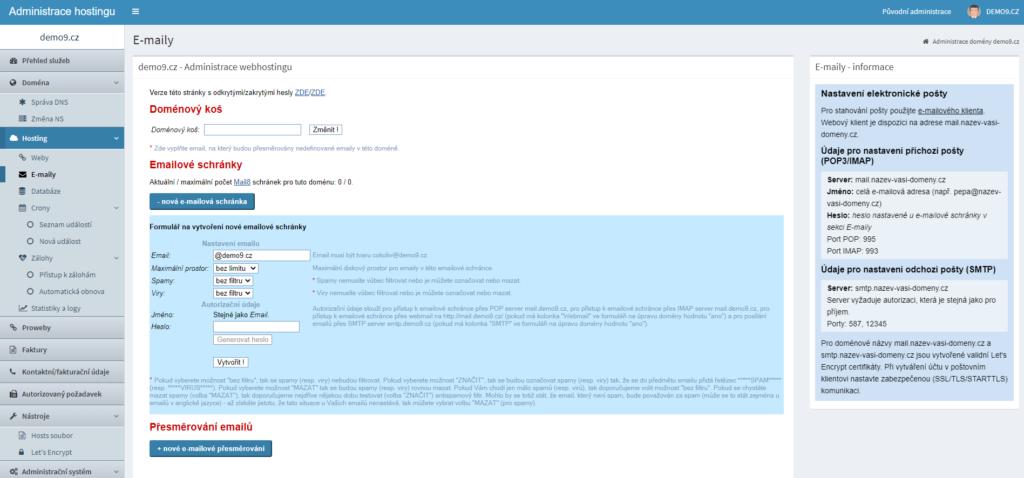 Webhosting C4 recenzia vytvorenie e-mailovej schránky