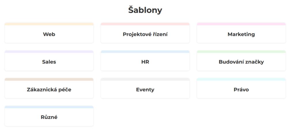 Freelo recenzie - kategórie šablón a checklistov