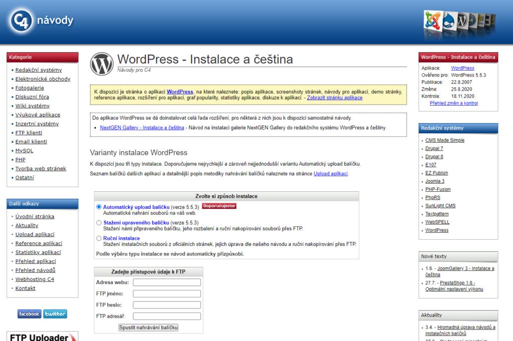 Webhosting C4 recenzie inštalácie WordPressu