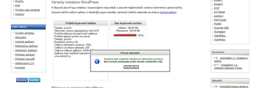 Recenzia Webhosting C4 inštalácia WordPressu