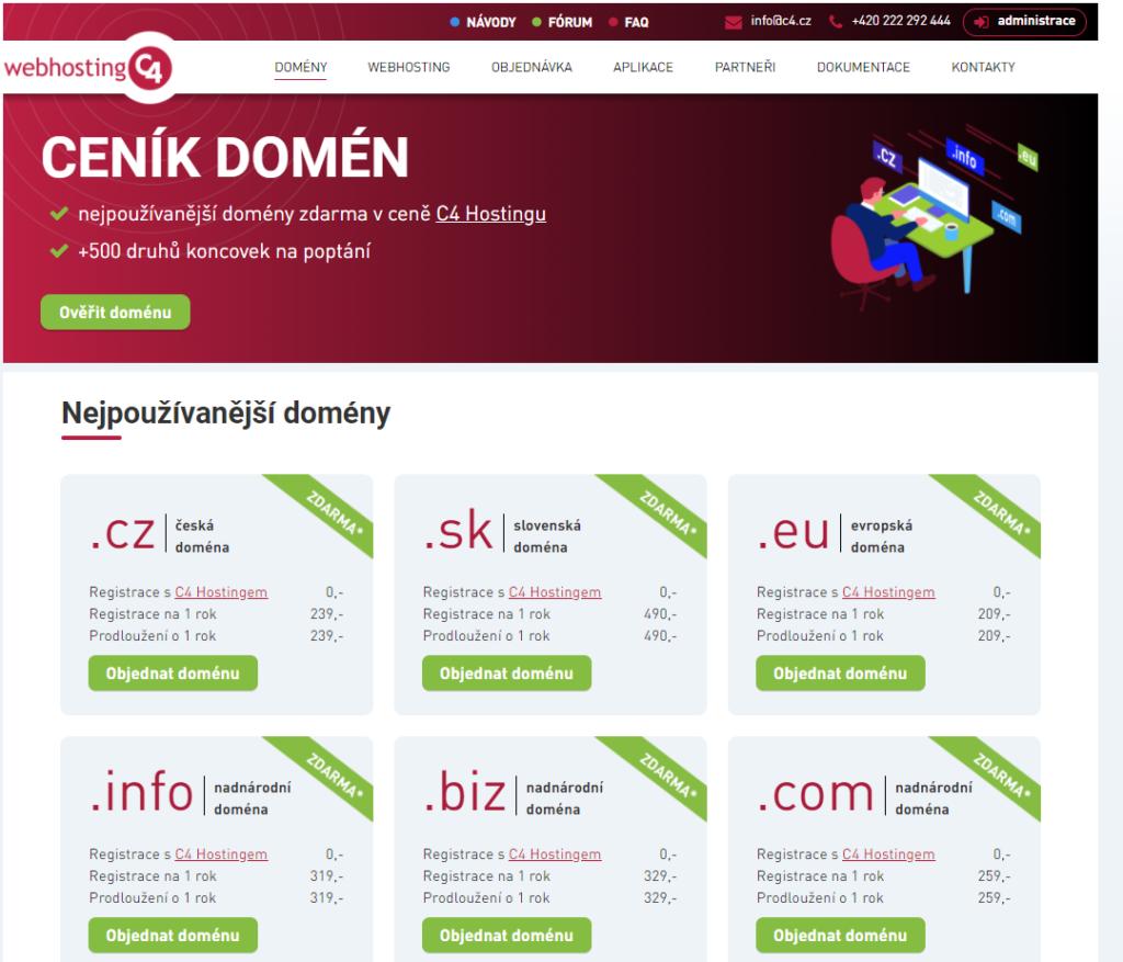 Recenzie Webhosting C4 registrácia domény