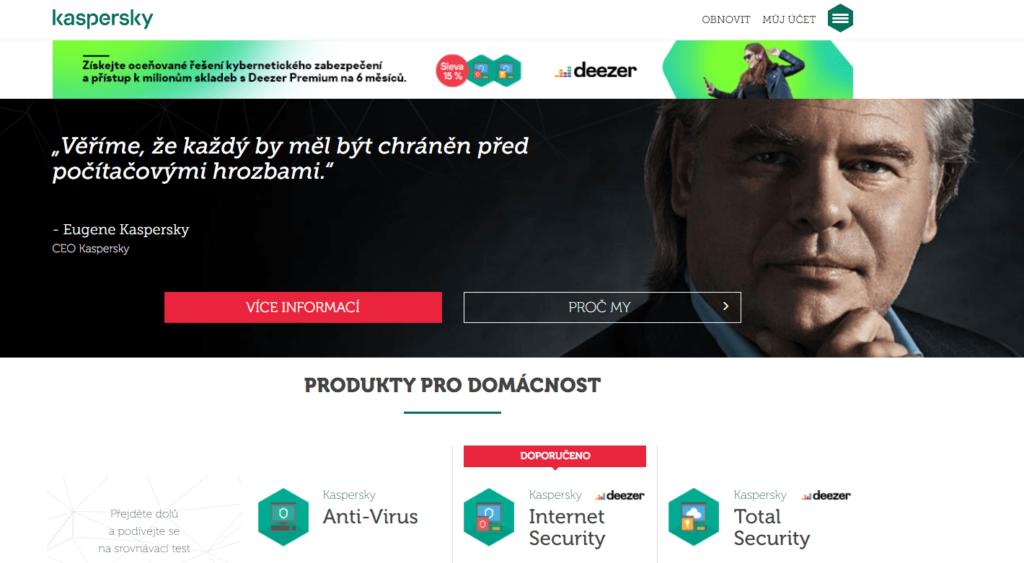 Porovnanie parametrov antivírusov - antivírusový program Kaspersky