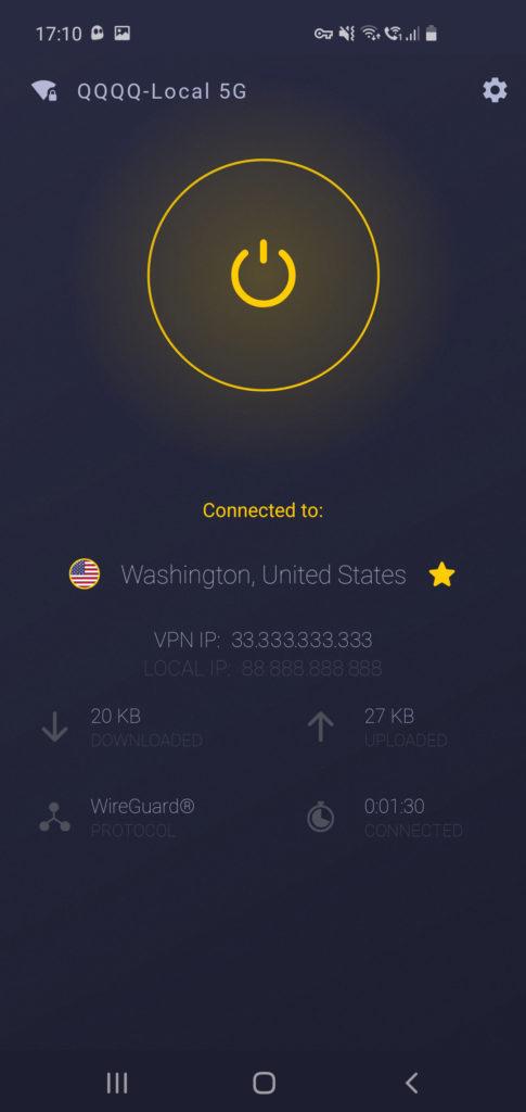Recenzie CyberGhost VPN aplikácia pre Android - parametre pripojenia
