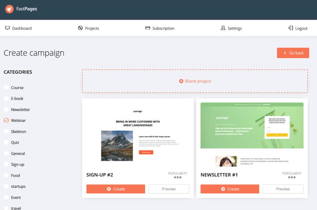 Recenzie FastPages - ukážka šablón pre landing pages.