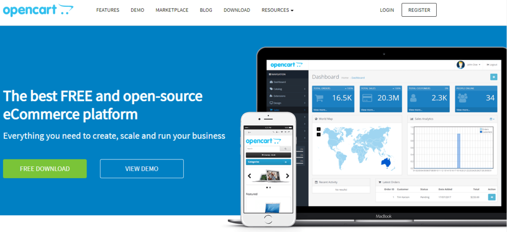 Open source e-shop OpenCart