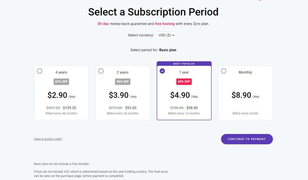 Príklad možností predplatného pre tarif Basic.