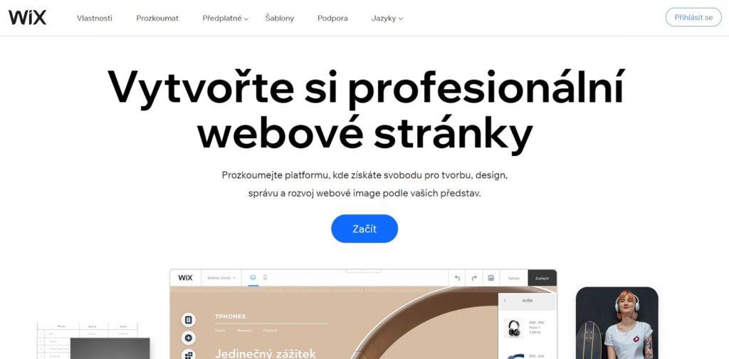 Hlavná stránka Wix.com