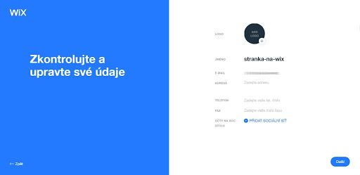 Wix: Vyberte svoje logo a doplňte dalšie informácie