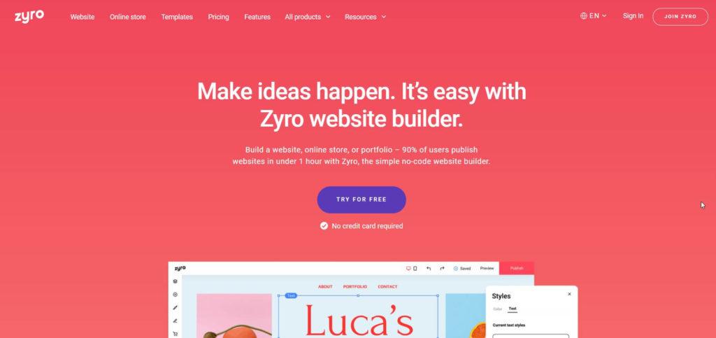 Zyro.com page builder